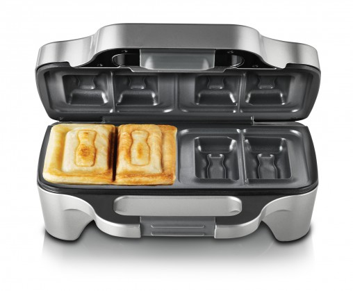 """Sunbeam Big Fill Soldiers for Two (GR6600, RRP $44.95) This jaffle iron cuts toasted sandwiches vertically instead of diagonally. """"Everyone loves a soldier and they are nostalgic and fun for kids and adults alike,"""" Sunbeam said."""