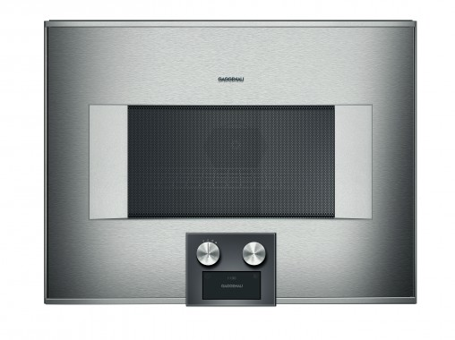 Gaggenau's 36-litre Combi Microwave (BM45, RRP $6,999) measures 45 centimetres high and can offer single or combined microwave, grill and oven operation, followed by up to five operating modes, including combi and idling.