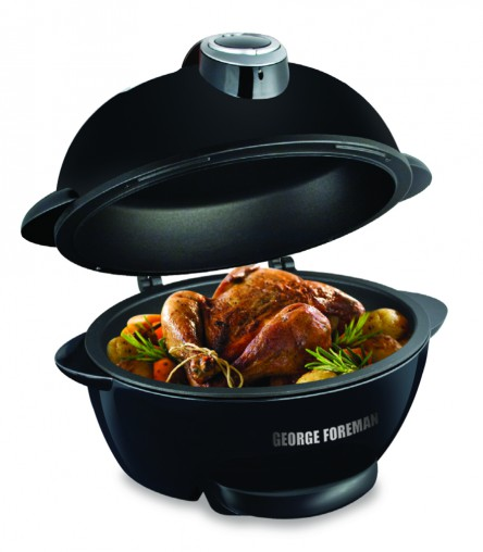George Foreman's Lean Mean Roasting Machine (RRP $99.95) has a 5-litre capacity and sloped design that allows fat to drain away into the removable drip tray for a healthier results.