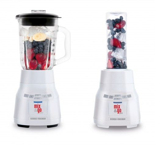 George Foreman Mix & Go PRO (21820AU, RRP $79.95) can be used with a family-sized 1.5-litre jug or individual 600-millilitre BPA free bottles.
