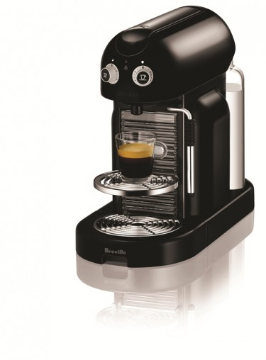The Nespresso Maestria, distributed by Breville, (BEC800B, RRP $749), has two programmed cup sizes with adjustable coffee volume control, double thermoblock heating system, professional steam wand and 19-bar pressure system.