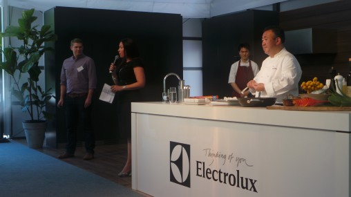Electrolux's Lyndon Craig and Richelle Barker with chef Tetsuya Wakuda.