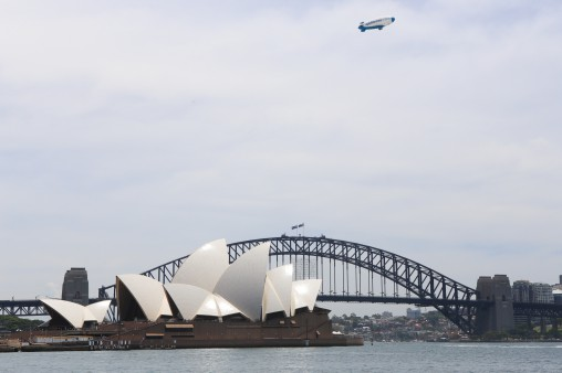 Appliances Online Blimp over Sydney Harbour yesterday.