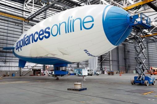 The Appliance Online Legandary Blimp in its hangar