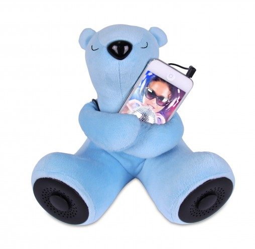 "Laser's Portable Teddy Bear speakers (RRP $29.95) come in blue, pink and purple and feature ""full range speakers in the feet""."
