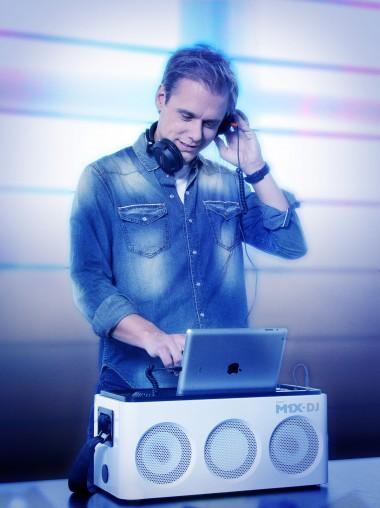 Armin van Buuren spinning tracks off the M1X-DJ.