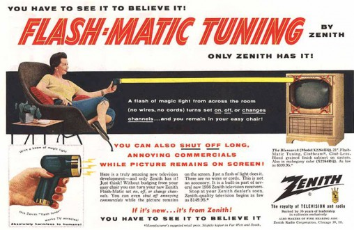Zenith Flash-Matic: a revolutionary innovation for TV users in the 1950s.