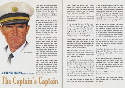 The magazine contains a special feature on blimp captain
