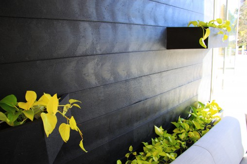 Recycled planter wall at Canon head office