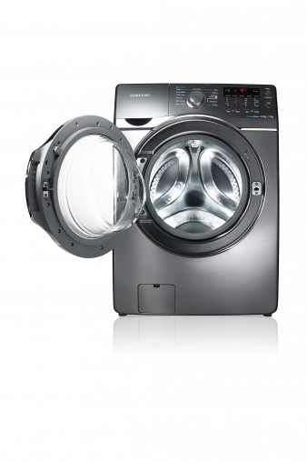 Samsung's Wi-Fi enabled Washer Dryer allows users to control their wash cycle remotely.