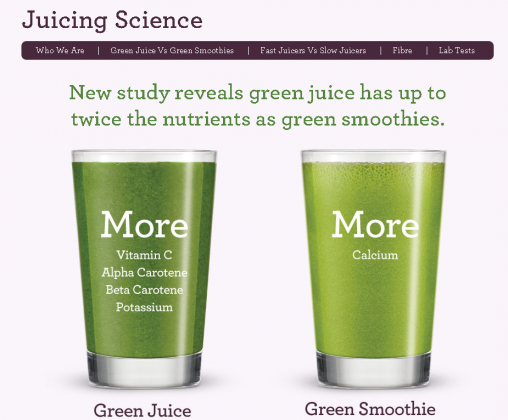 A screenshot from the Juicing Science website