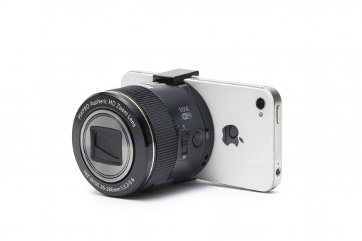 Kodak SL10 (RRP $229) turns an iPhone (or Android phone) into a much more sophisticated camera. The clips are adjustible to suit smarthones or varying widths.